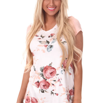 Floral Front Tee with Peach Sleeves and Back