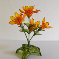 Orange Lucite Flowers, Bouquet, Plant, Yellow, Green, Acrylic, 1970's