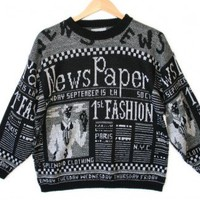 Shop Now! Ugly Sweaters: Vintage 80s Newspaper Tacky Ugly Sweater Women's Size Medium/Large (M/L) $18 - The Ugly Sweater Shop