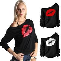 Deals Blast: Red White Lips Offset Print Women Tops Long Sleeve Loose Fit Tee Shirts Plus Size Women Clothing