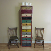 Vintage Dresser Cabinet of Drawers Reclaimed Wood Dresser Upcycled Furniture Industrial Decor