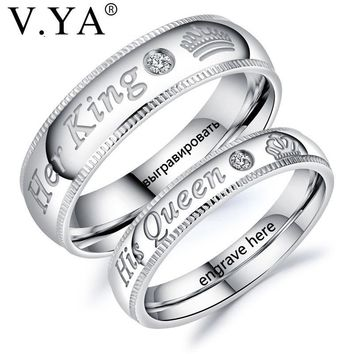 V.YA Fashion DIY Custom Engrave Couple Jewelry Rings Her King and His Queen Stainless Steel Wedding Rings for Women Men Jewelry