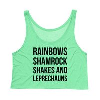 Rainbows Shamrock Shakes and Leprechauns St. Patrick's Day Tank Top Crop