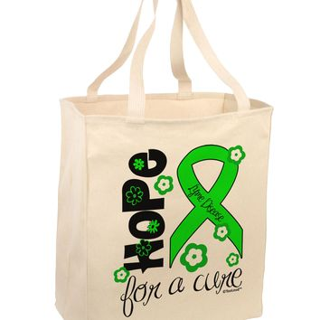Hope for a Cure - Lime Green Ribbon Lyme Disease - Flowers Large Grocery Tote Bag