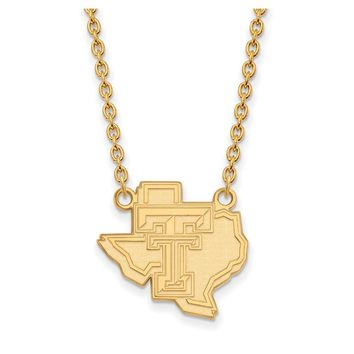 NCAA 10k Yellow Gold Texas Tech U Large Pendant Necklace