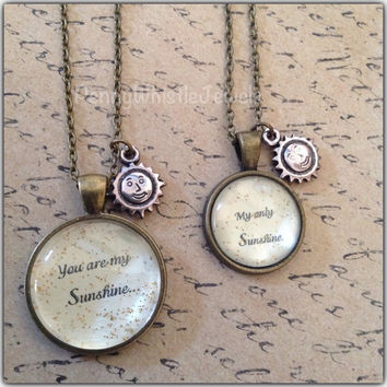 You Are My Sunshine Necklaces, Mommy And Me Necklaces, Mother Daughter, Mothers Day, PennyWhistle