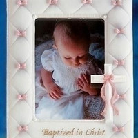 4 Baptism Picture Frames - Baby Girl