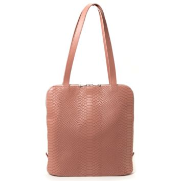 'Dianne' Convertible Tote/Backpack In Blush Snake-Effect Leather