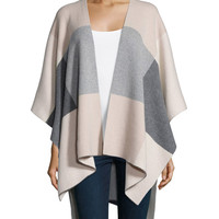 Intarsia Plaid Cashmere Poncho, Size: ONE SIZE, CAMEL/GREY/WHITE - Neiman Marcus Cashmere Collection