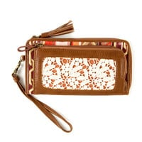 Boho Faux Leather, Tapestry and Crochet Zip-Around Wallet