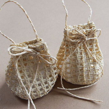 Net Sack Bag Woven Straw Favor Pouches, 2-3/4-inch, 12-pack, Natural
