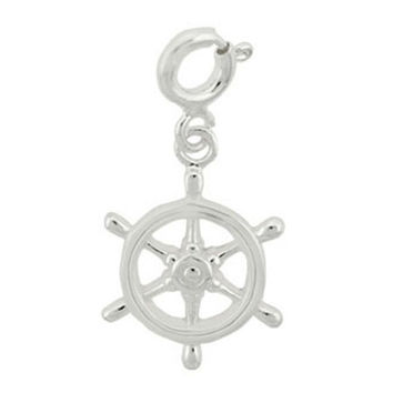 Sterling Silver Antique Boat Steerng Wheel Charm