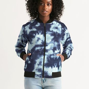 Blue Tie Dye Women's Bomber Jacket