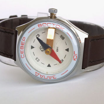 Vintage Compass. Wrist Compass In Watchs Case. Soviet Compass Made By Chistopol Watch Factory Molnija 80s. Back To School