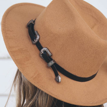 Tan Hat With Rope and Buckle