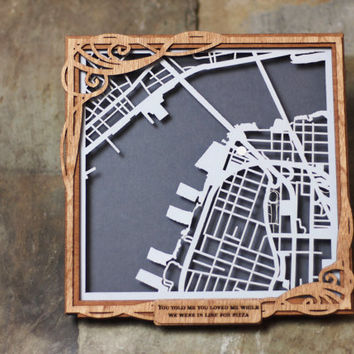 """CUSTOM Laser Cut Shadowbox Map With Personalized Wood Frame- 8"""" map"""