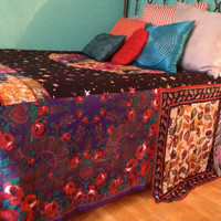 Gypsy Boho Bedspread, Zodiac Bedding, Blanket- Bohemian, Anthropologie Inspired, Moroccan - Glamping - OOAK, Repurposed, Upcycled Textiles