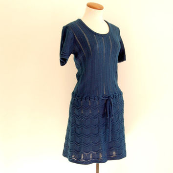 blue knit dress - 70s vintage navy acrylic open weave mini dress - drop waist - short sleeve - small / medium