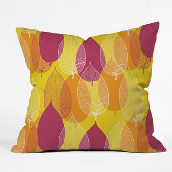Aimee St Hill Big Leaves Yellow Throw Pillow