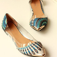 Women's Casual Floral Print Metal Decorative Pointed Toe Flats Shoes