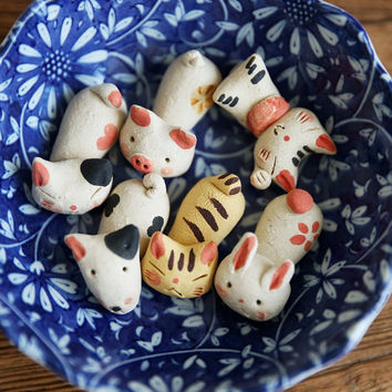 Lost in Kyoto Japanese super cute handmade porcelain home decor cat/dog/pig/rabbit