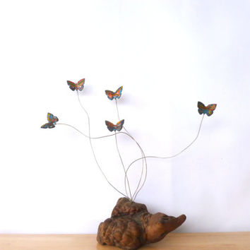 Vintage Butterfly Kinetic Art Mobile 1980s Wood Base Wire and Enamel Butterflies Sculpture Home Decor
