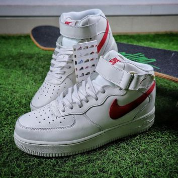 Nike Air Force 1 AF1 Mid White Red Women Men Skateboarding Causel Sports Sneaker Shoes 315123-126