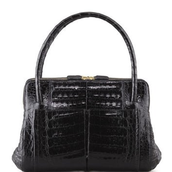 Nancy Gonzalez Linda Small Crocodile Satchel Bag, Black