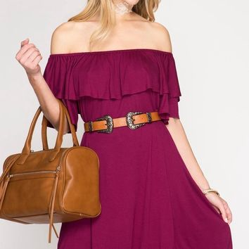 Burgundy Ruffle Off Shoulder Dress (final sale)