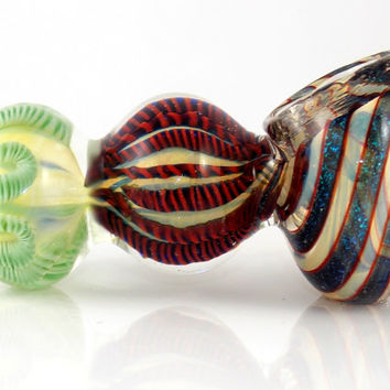 Super Sparkly Dichroic Glitter Swirl Heady Fumed Color Glass Smoking Pipe - Heavy Triple Ball Shape - Party Size Deep Bowl