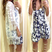 Sheer We Are Cream Lace Kimono Top