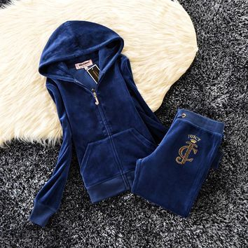 Juicy Couture Studded Logo Crown Velour Tracksuit 6129 2pcs Women Suits Navy - Ready Stock