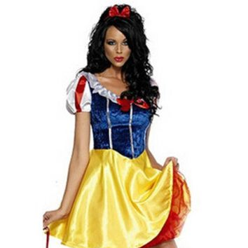 MDIGHY9 Plus Size Adult Snow White Costume Carnival Halloween Costumes For Women Fairy tale Clothes Dress Female XL
