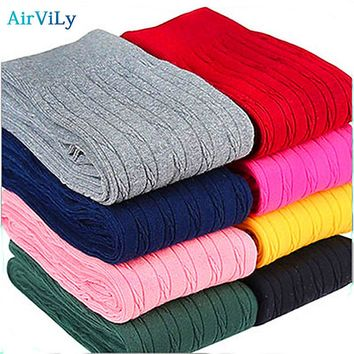 Fashion Knitting Kids Girls Leggings Autumn Winter  Warm Ruched Clothing