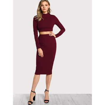 High Neck Crop Top & Pencil Skirt Set