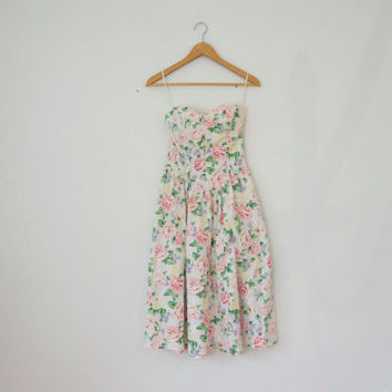 90s Pastel Floral Dress - strapless dress pastel grunge fit flare dress summer dress strapless sundress 90s floral sundress bustier dress
