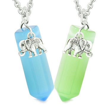 Lucky Elephant Love Couples Best Friends Crystal Points Sky Blue Neon Green Simulated Cats Eye Necklaces