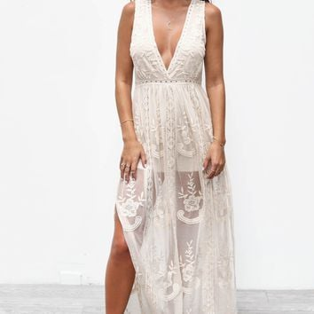 Emotional Thinking Natural Lace Maxi Dress