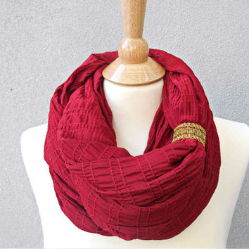 Burgundy Knit Infinity Scarf Red Chunky Sweater Knit Circle Scarf Loop