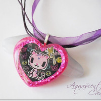 Cute pink cat resin charm necklace, pink heart resin pendant, tokidoki necklace, Hello Kitty friends, glittery heart charm, resin necklace