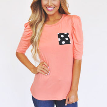 Polka Dot Pocket Top- Peach