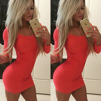 Sexy-Womens-Long-Sleeve-Casual-Bandage-Bodycon-Cocktail-Evening-Club-Party-Dress