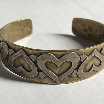 Rare JEEP COLLINS Brass & Sterling Silver Cuff / Vintage Signed Hallmarked Bracelet / Hammered Two Tone Raised Heart Bracelet / 925 Sterling