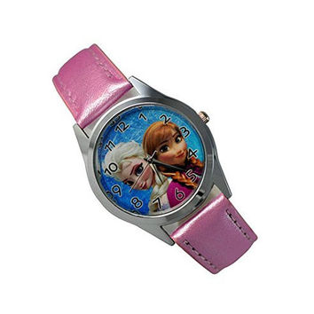 "Disney Frozen "" Princess Elsa and Princess Anna "" on a Girls Pink Leather Wrist Watch"
