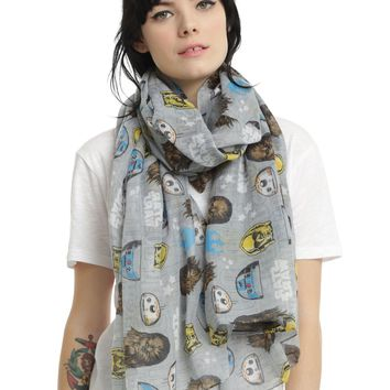 """Licensed cool Disney Star Wars Not The Droids Your Looking For Sheer Oblong Scarf 44""""x72"""" NEW"""