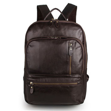 Genuine Cow Leather Large Capacity Men's Travel Backpack_Backpacks_Men's Leather Bags