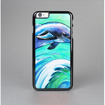 The Pastel Vibrant Blue Dolphin Skin-Sert for the Apple iPhone 6 Skin-Sert Case