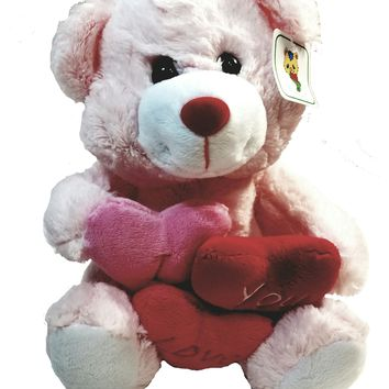 "Urban Collection Pink Plush Teddy Bear 10"" Cuddly I Love You Toy"