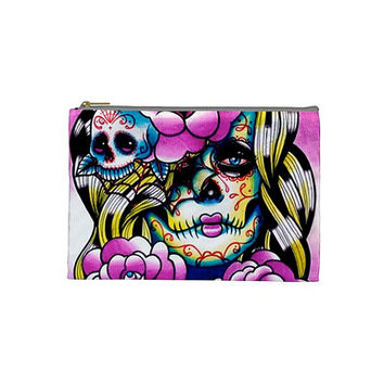 Cosmetic Bag Case- Day of the Dead Dia De Los Muertos Tattoo Flash Sugar Skull Art Make Up Pencil Zipper Pouch 9in x 6in Double Sided