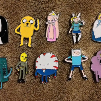 LOT OF 10 Adventure Time Hat Pin Set - Handmade, Repurposed From Charms